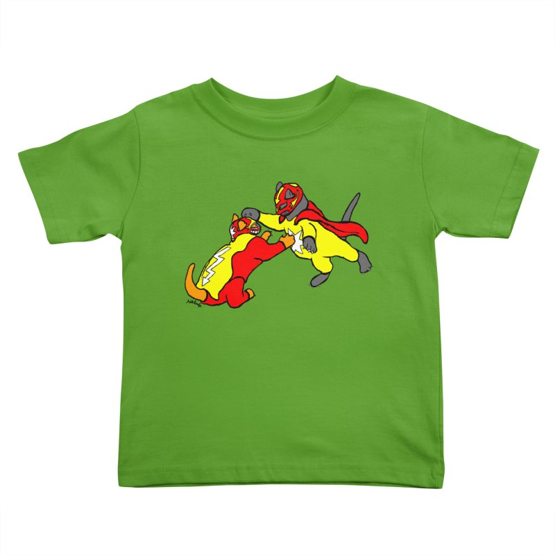 wrestle cats Kids Toddler T-Shirt by mikbulp's Artist Shop
