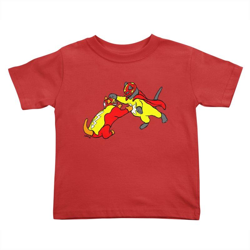 wrestle cats Kids Toddler T-Shirt by mikbulp's Artist Shop