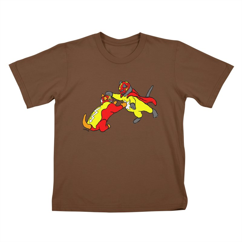 wrestle cats Kids T-Shirt by mikbulp's Artist Shop