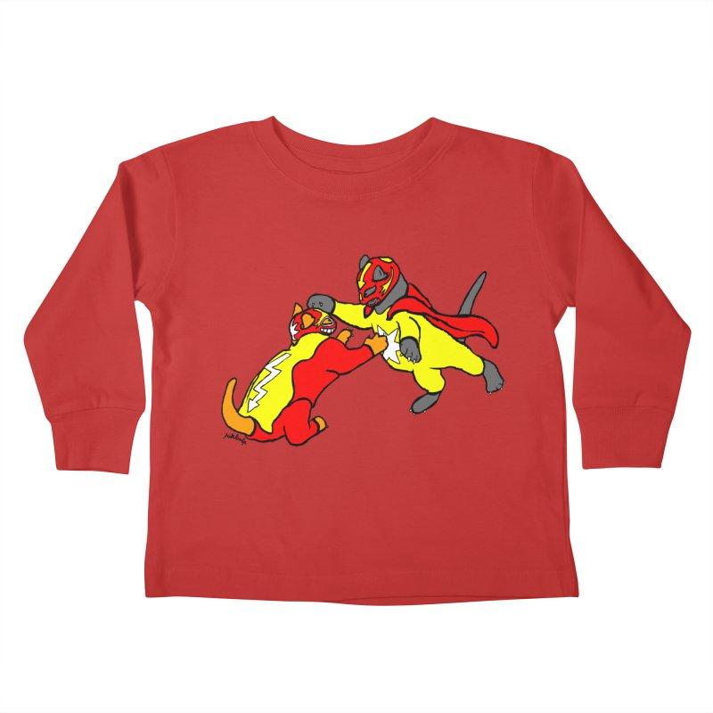 wrestle cats Kids Toddler Longsleeve T-Shirt by mikbulp's Artist Shop