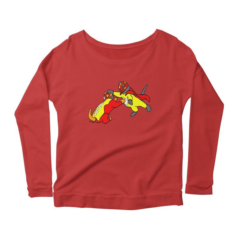 wrestle cats Women's Scoop Neck Longsleeve T-Shirt by mikbulp's Artist Shop