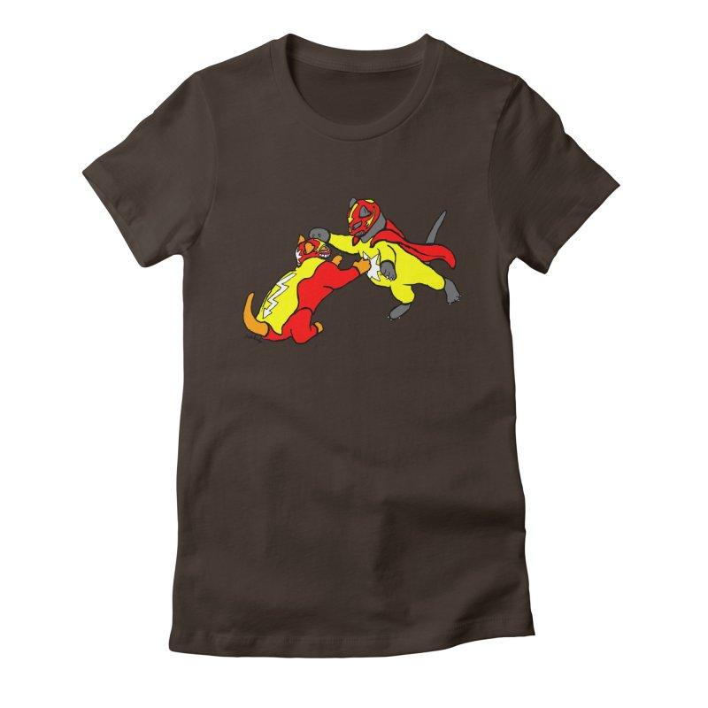 wrestle cats Women's Fitted T-Shirt by mikbulp's Artist Shop