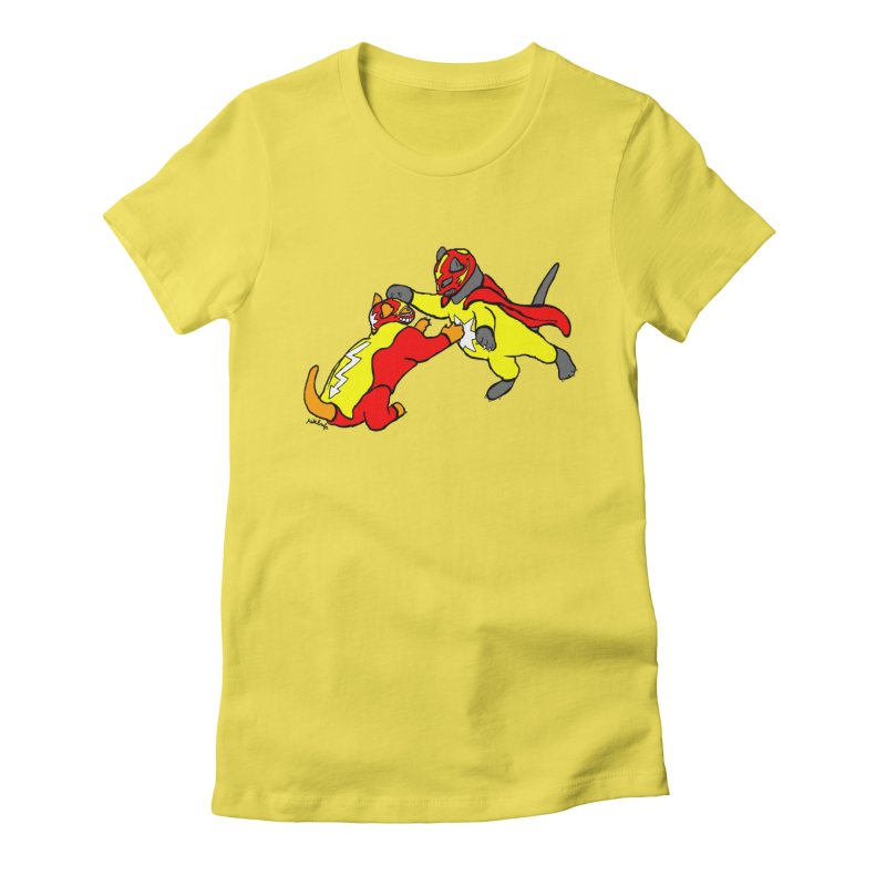 wrestle cats Women's Fitted T-Shirt by mikbulp's Artist Shop