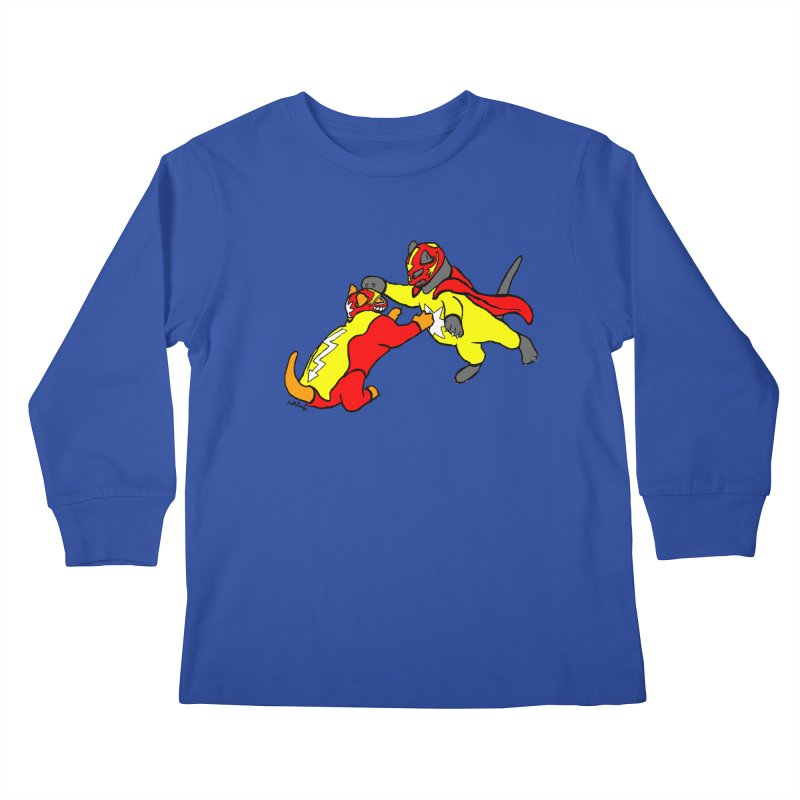 wrestle cats Kids Longsleeve T-Shirt by mikbulp's Artist Shop