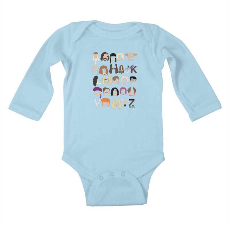 Harry Potter Alphabet Kids Baby Longsleeve Bodysuit by Mike Baboon Design