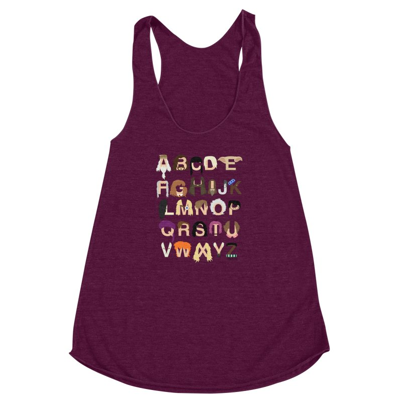 Harry Potter Alphabet Women's Racerback Triblend Tank by Mike Baboon Design