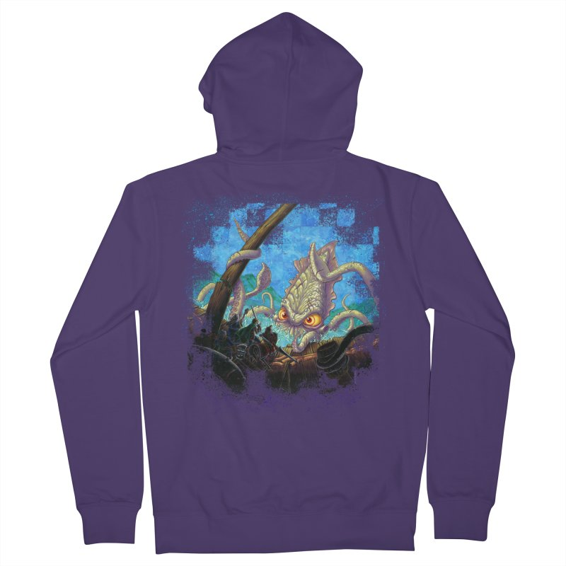 The Kraken Strikes! Women's French Terry Zip-Up Hoody by Mike Bilz's Artist Shop