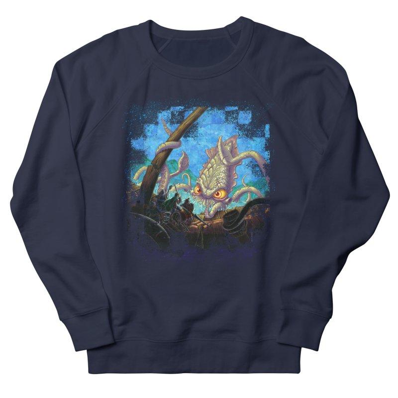 The Kraken Strikes! Men's French Terry Sweatshirt by Mike Bilz's Artist Shop