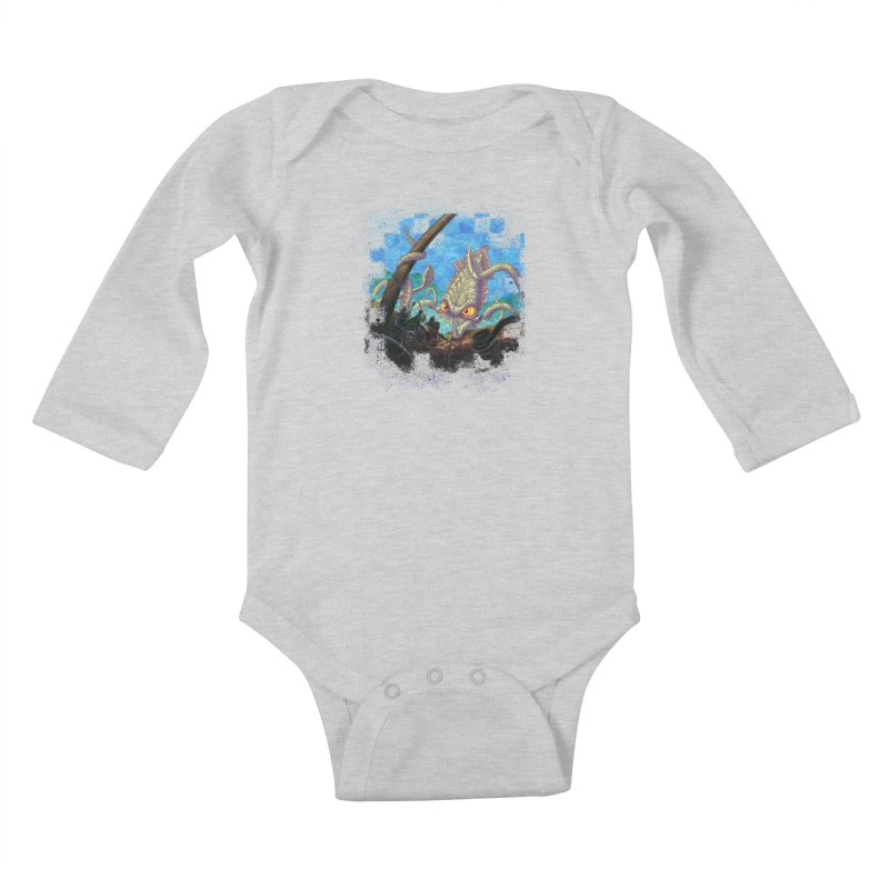 The Kraken Strikes! Kids Baby Longsleeve Bodysuit by Mike Bilz's Artist Shop