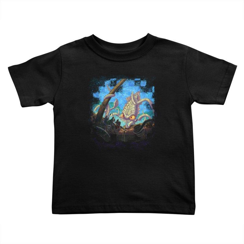 The Kraken Strikes! Kids Toddler T-Shirt by Mike Bilz's Artist Shop