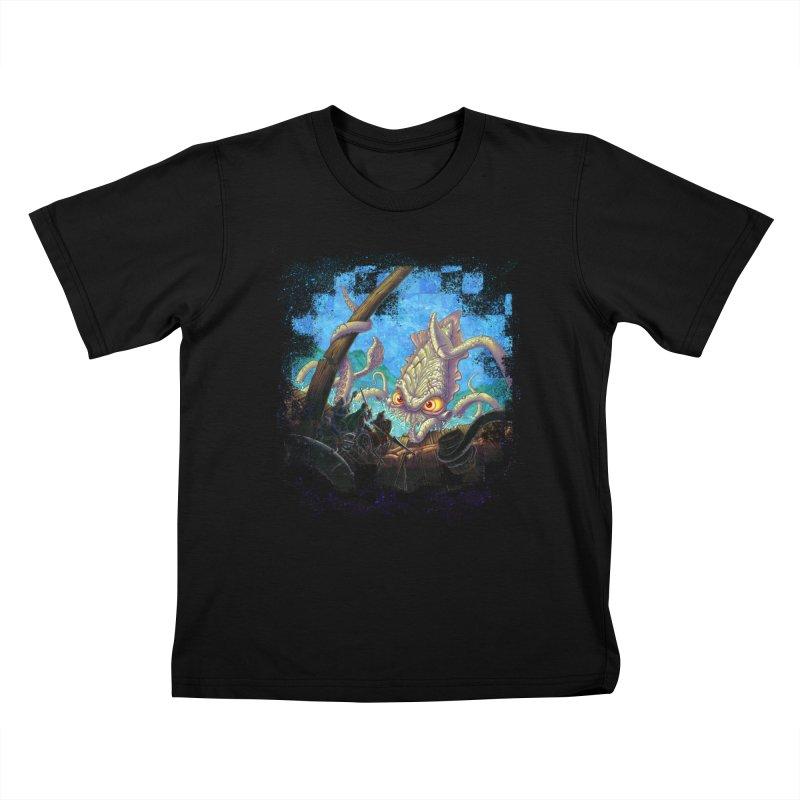 The Kraken Strikes! Kids T-Shirt by Mike Bilz's Artist Shop