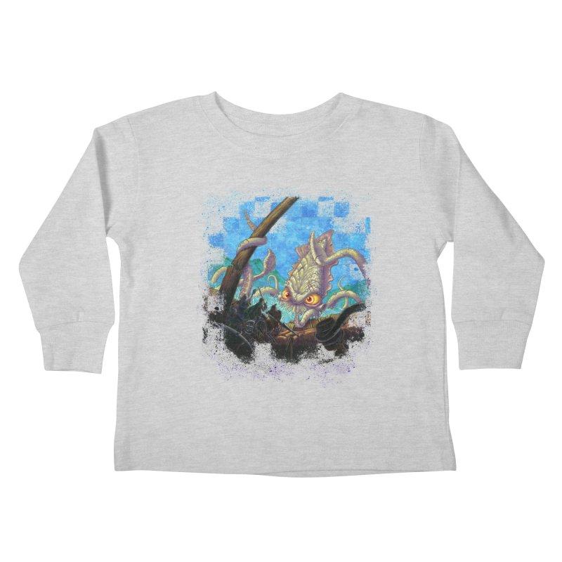 The Kraken Strikes! Kids Toddler Longsleeve T-Shirt by Mike Bilz's Artist Shop