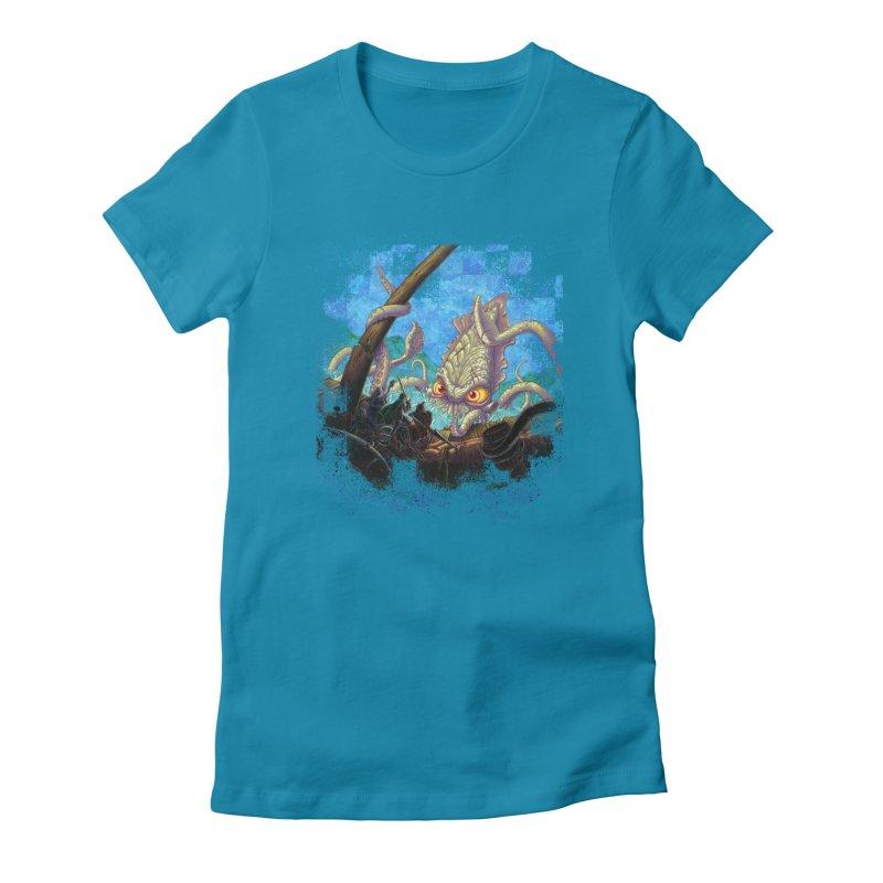 The Kraken Strikes! Women's Fitted T-Shirt by Mike Bilz's Artist Shop