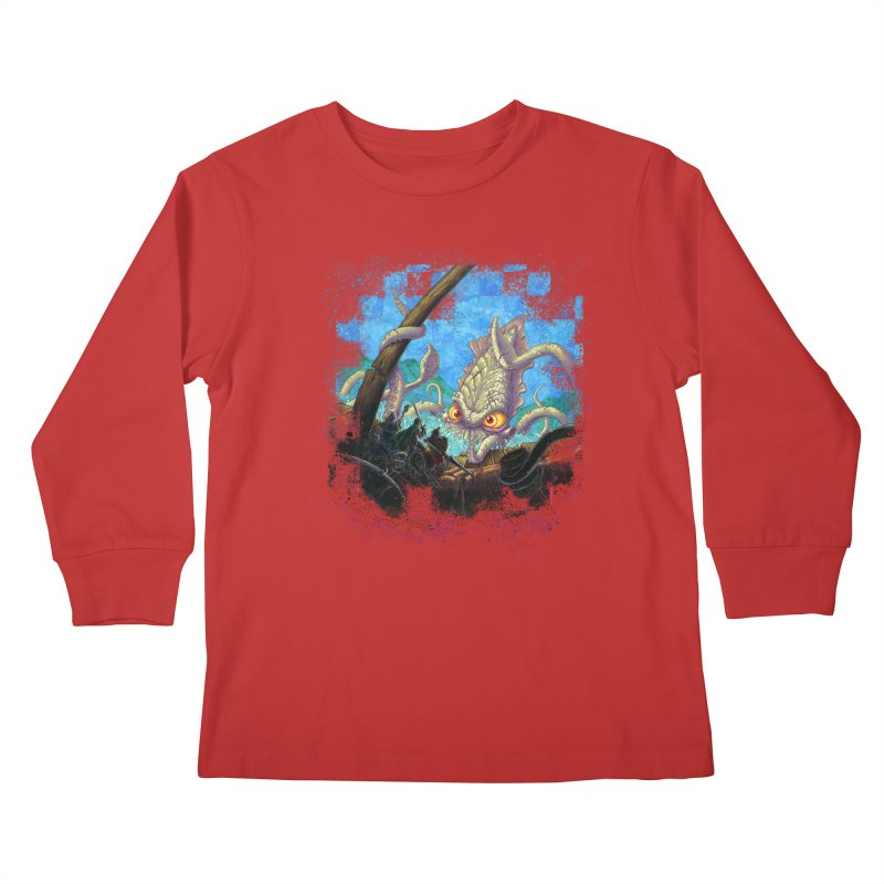 The Kraken Strikes! Kids Longsleeve T-Shirt by Mike Bilz's Artist Shop