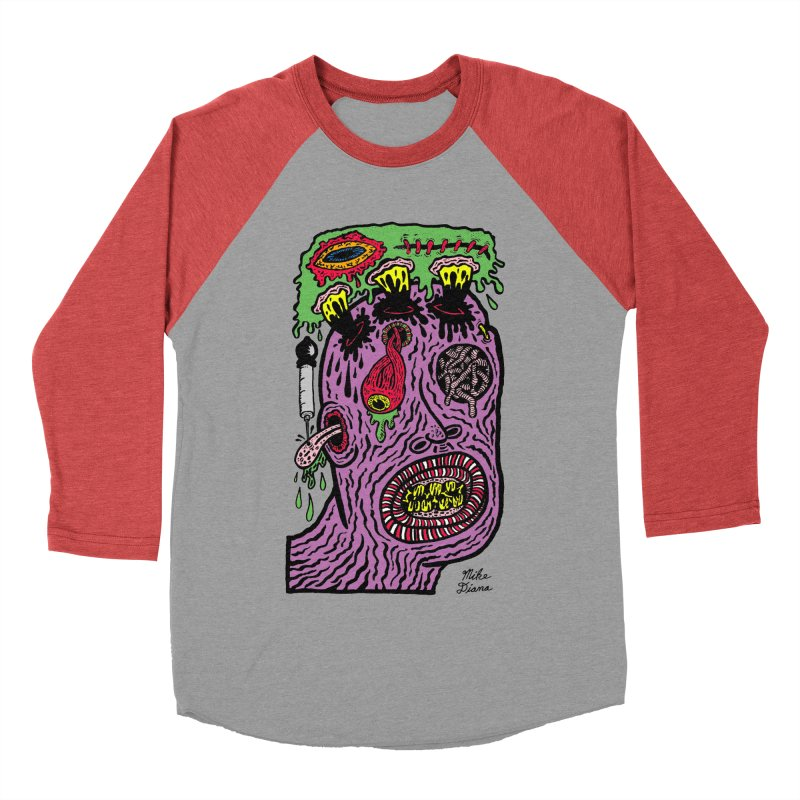 Purple Pain Person Women's Baseball Triblend Longsleeve T-Shirt by Mike Diana T-Shirts Mugs and More!
