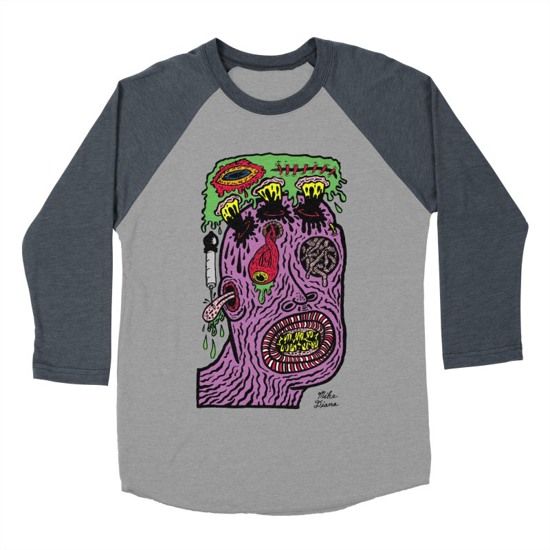 Purple Pain Person Men's Baseball Triblend Longsleeve T-Shirt by Mike Diana T-Shirts Mugs and More!