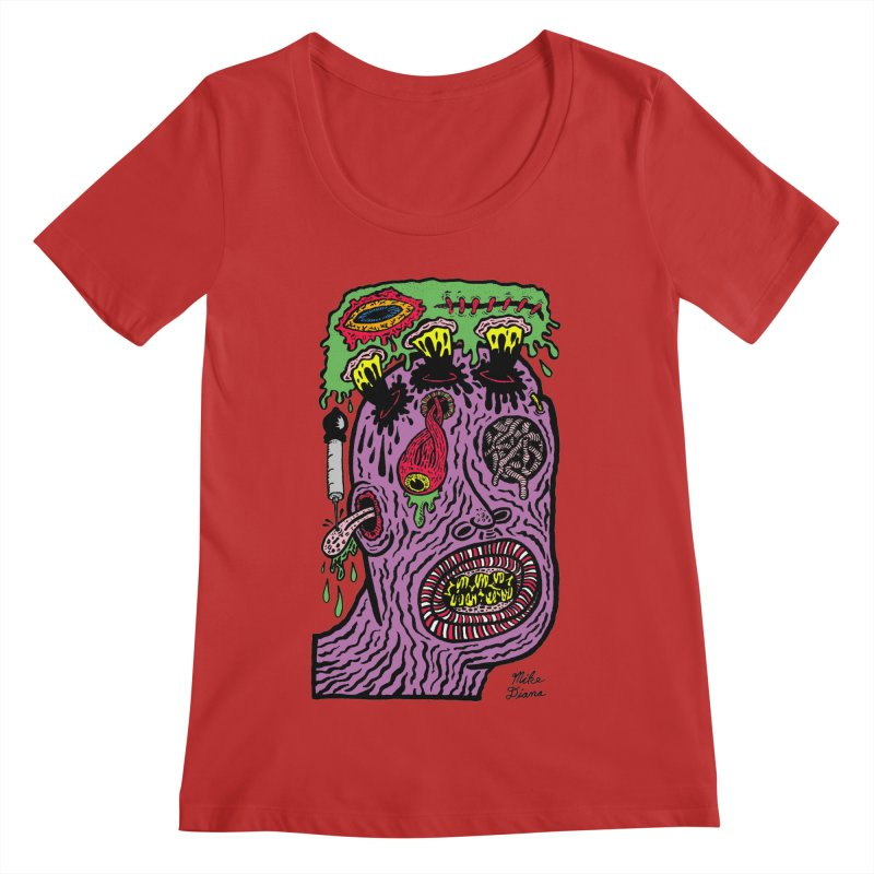 Purple Pain Person Women's Regular Scoop Neck by Mike Diana T-Shirts Mugs and More!