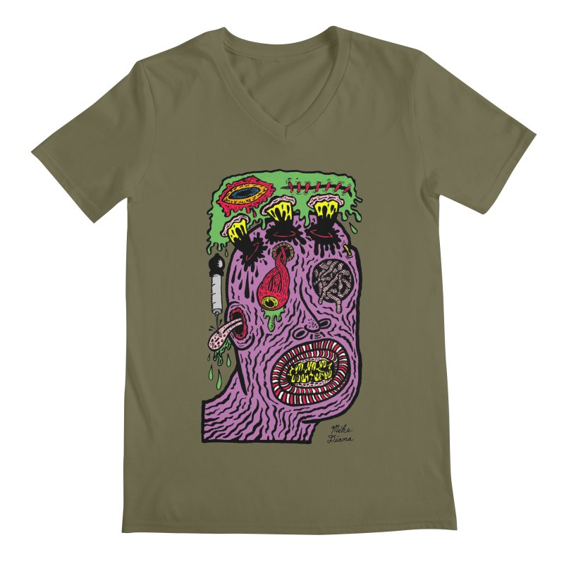 Purple Pain Person Men's Regular V-Neck by Mike Diana T-Shirts Mugs and More!