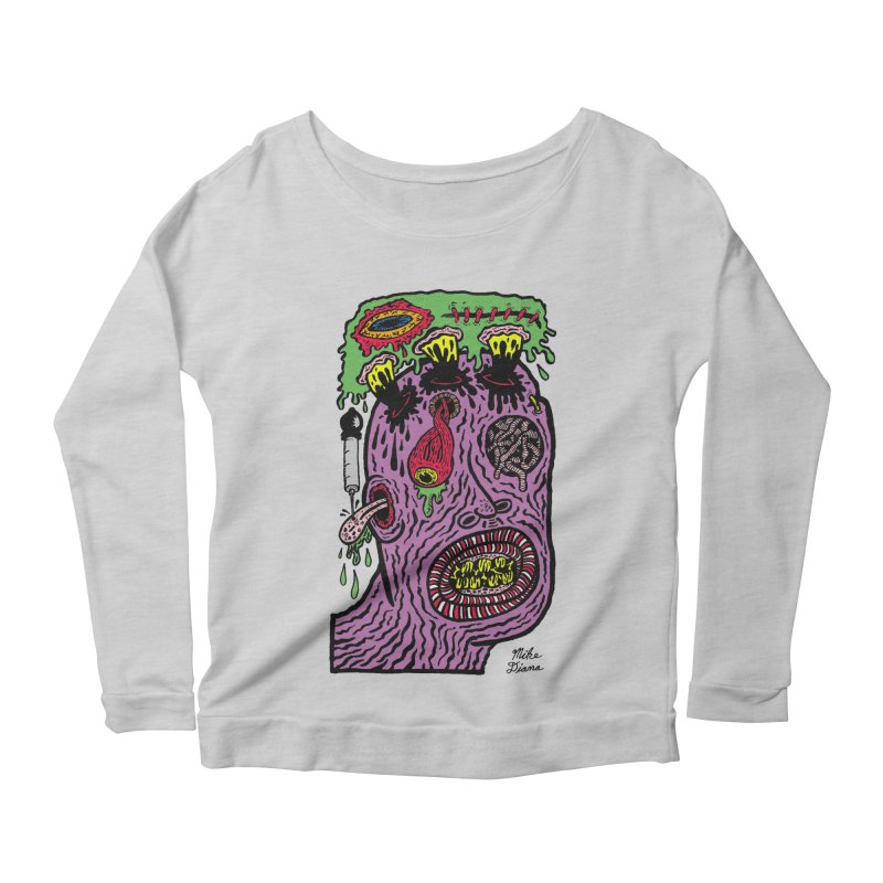 Purple Pain Person Women's Scoop Neck Longsleeve T-Shirt by Mike Diana T-Shirts Mugs and More!