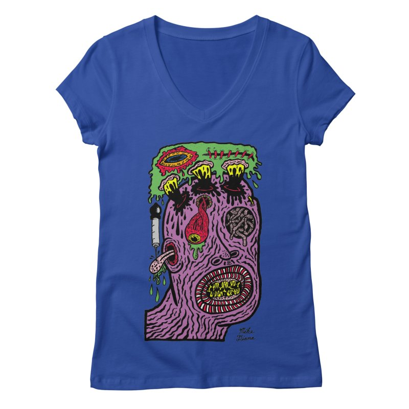 Purple Pain Person Women's Regular V-Neck by Mike Diana T-Shirts Mugs and More!