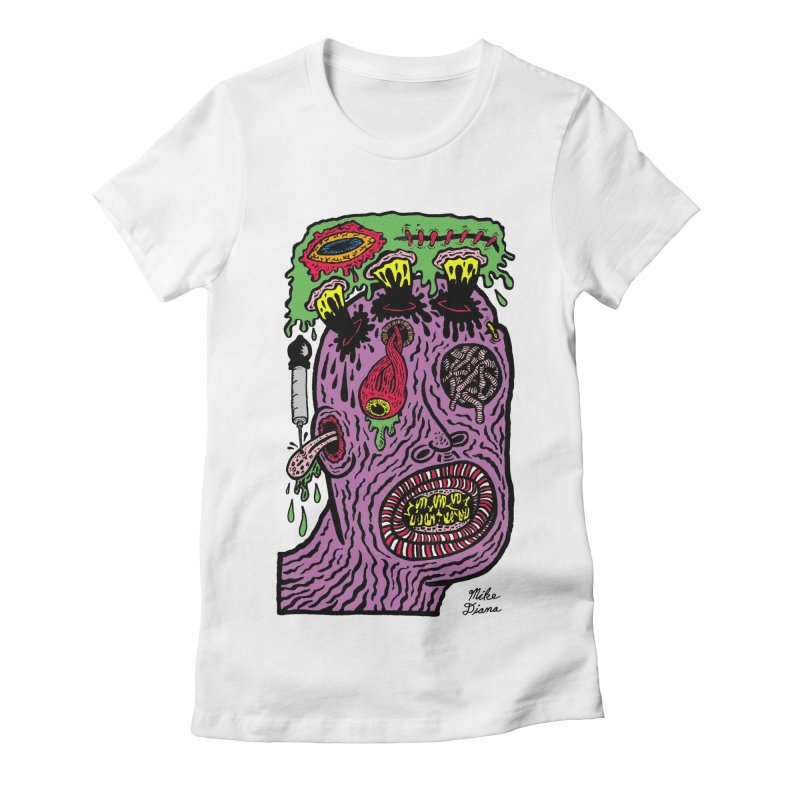 Purple Pain Person Women's Fitted T-Shirt by Mike Diana T-Shirts Mugs and More!
