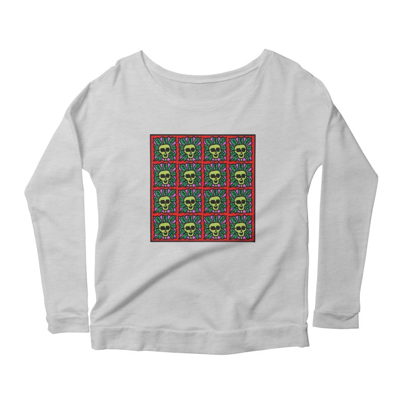 Weed Dude Blotter Head Women's Scoop Neck Longsleeve T-Shirt by Mike Diana T-Shirts Mugs and More!