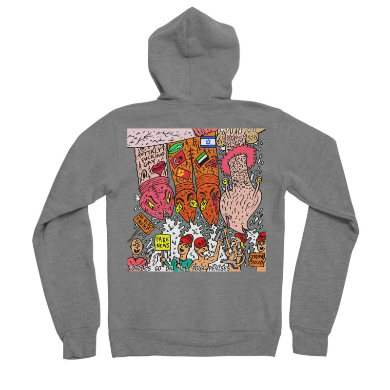 TFG - Condoms Go On All Four Penises Women's Sponge Fleece Zip-Up Hoody by Mike Diana T-Shirts Mugs and More!