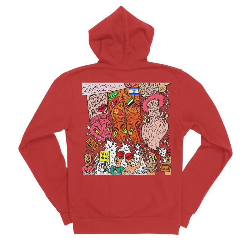 TFG - Condoms Go On All Four Penises Men's Sponge Fleece Zip-Up Hoody by Mike Diana T-Shirts Mugs and More!