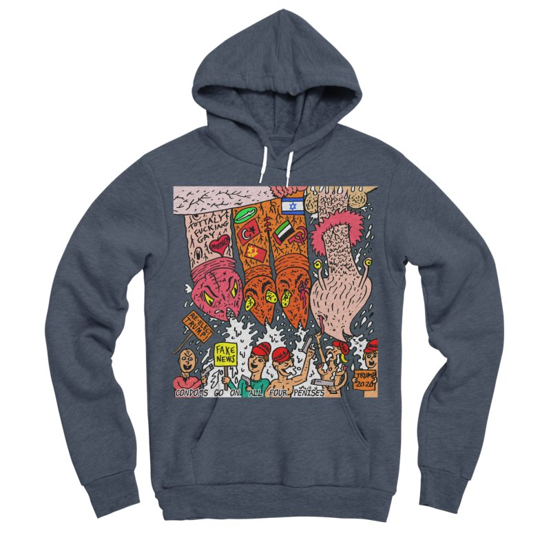 TFG - Condoms Go On All Four Penises Men's Sponge Fleece Pullover Hoody by Mike Diana T-Shirts Mugs and More!