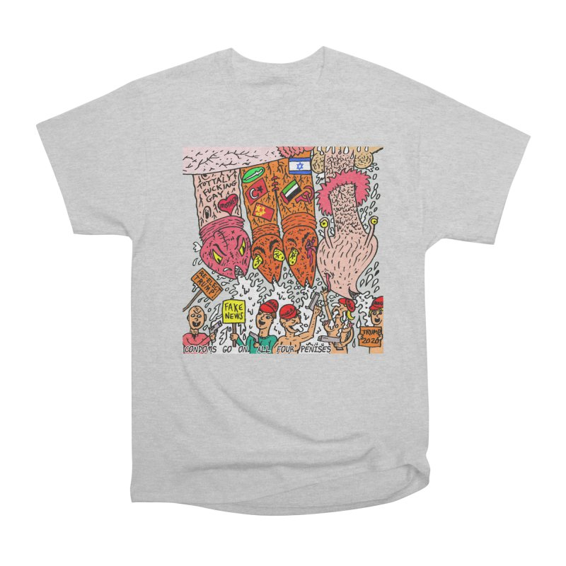 TFG - Condoms Go On All Four Penises Men's Heavyweight T-Shirt by Mike Diana T-Shirts Mugs and More!