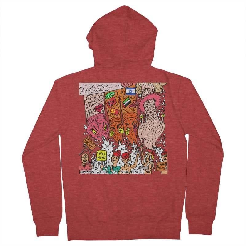 TFG - Condoms Go On All Four Penises Women's French Terry Zip-Up Hoody by Mike Diana T-Shirts Mugs and More!