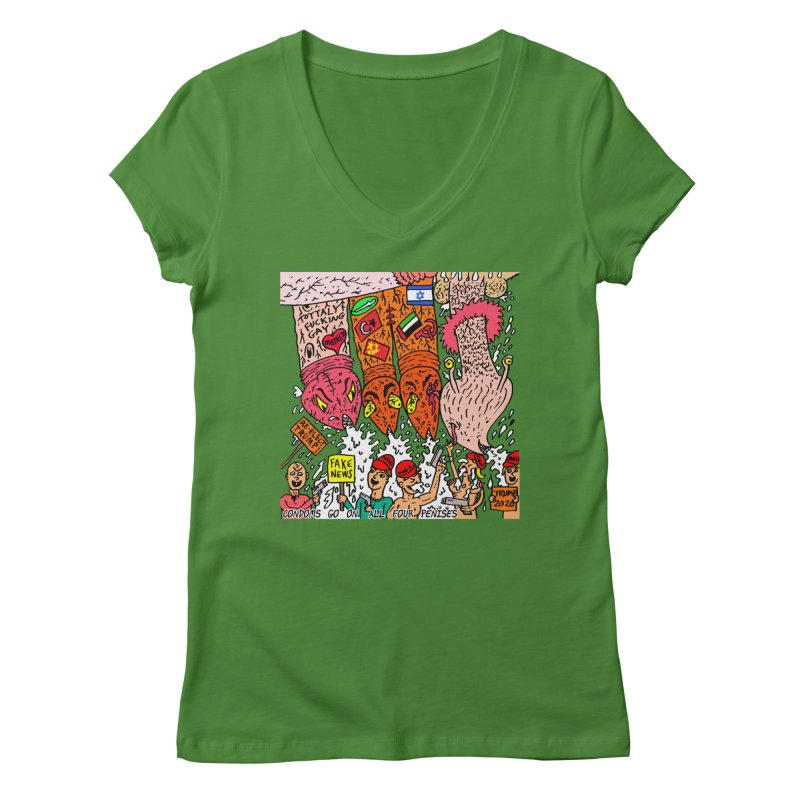 TFG - Condoms Go On All Four Penises Women's Regular V-Neck by Mike Diana T-Shirts Mugs and More!