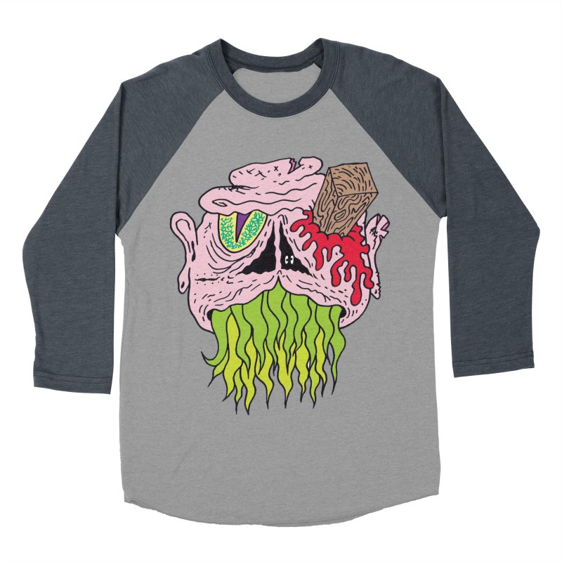 Slithers Women's Baseball Triblend T-Shirt by Mike Diana T-Shirts! Horrible Ugly Heads Limited E