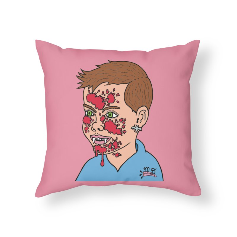 Vampire Kid Home Throw Pillow by Mike Diana T-Shirts! Horrible Ugly Heads Limited E