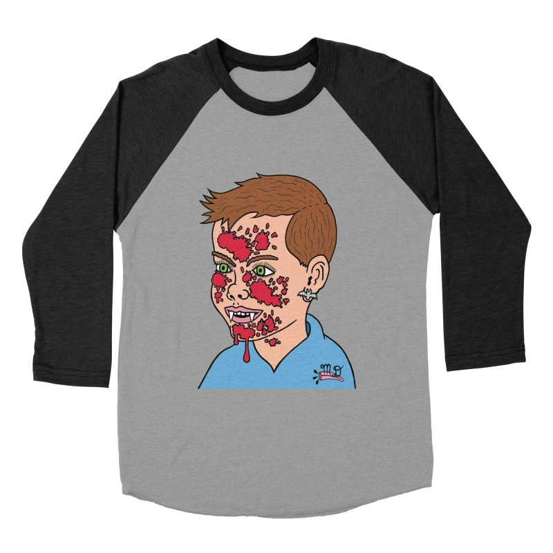Vampire Kid Women's Baseball Triblend T-Shirt by Mike Diana T-Shirts! Horrible Ugly Heads Limited E
