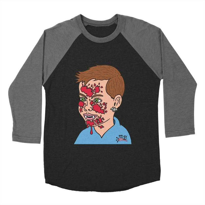 Vampire Kid Men's Baseball Triblend T-Shirt by Mike Diana T-Shirts! Horrible Ugly Heads Limited E
