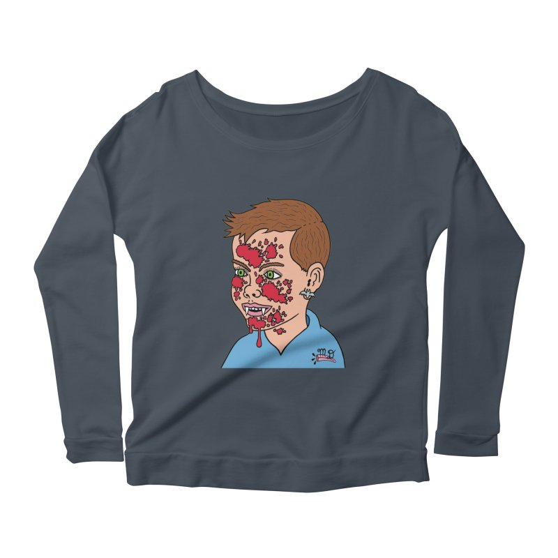 Vampire Kid Women's Longsleeve Scoopneck  by Mike Diana T-Shirts! Horrible Ugly Heads Limited E