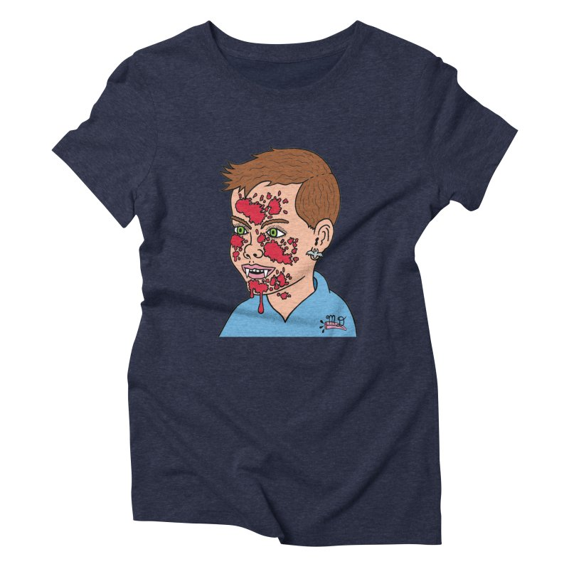 Vampire Kid Women's Triblend T-shirt by Mike Diana T-Shirts! Horrible Ugly Heads Limited E