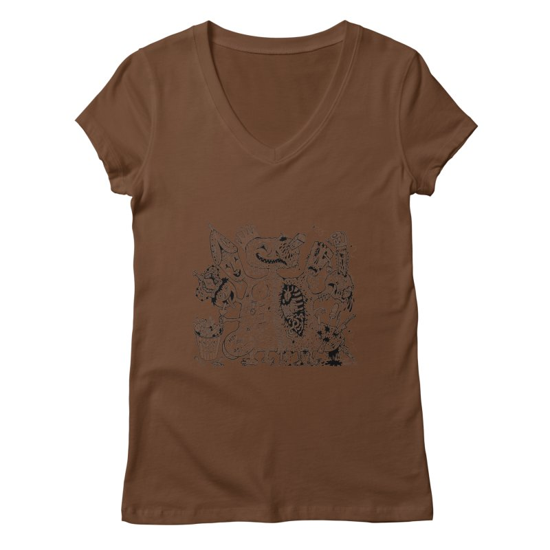 Half-Dead Freak Women's V-Neck by Mike Diana T-Shirts! Horrible Ugly Heads Limited E
