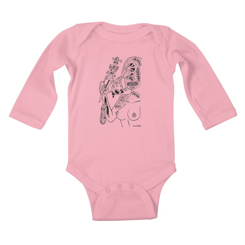 Another Boiled Angel  Kids Baby Longsleeve Bodysuit by Mike Diana T-Shirts! Horrible Ugly Heads Limited E