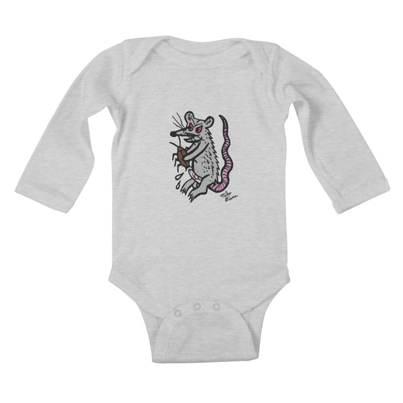Ratty Kids Baby Longsleeve Bodysuit by Mike Diana T-Shirts! Horrible Ugly Heads Limited E