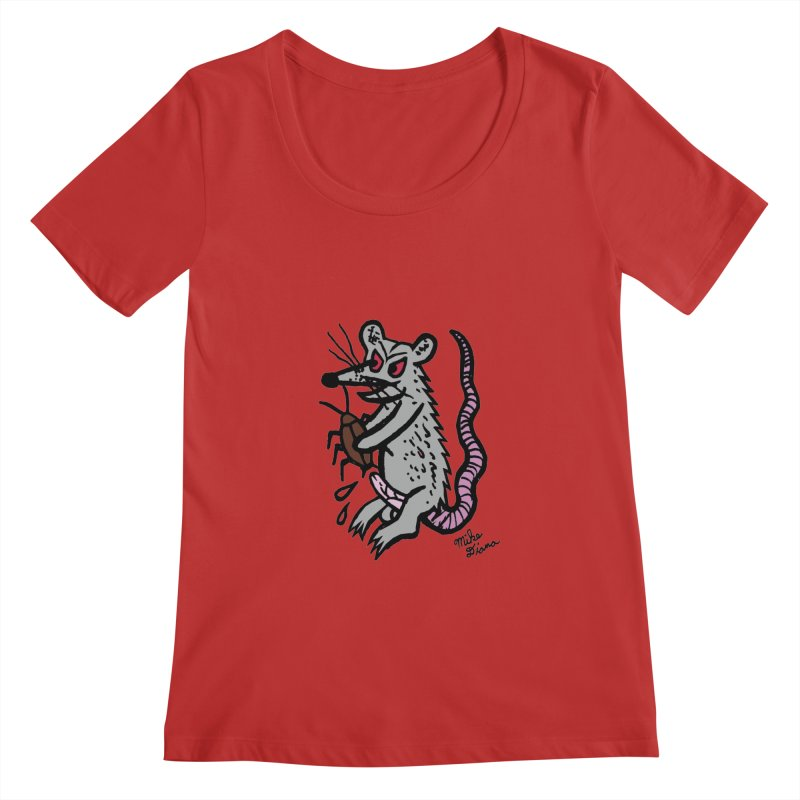 Ratty Women's Scoopneck by Mike Diana T-Shirts! Horrible Ugly Heads Limited E