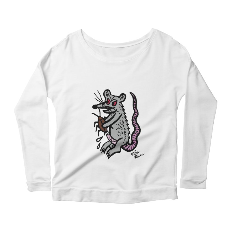 Ratty Women's Longsleeve Scoopneck  by Mike Diana T-Shirts! Horrible Ugly Heads Limited E