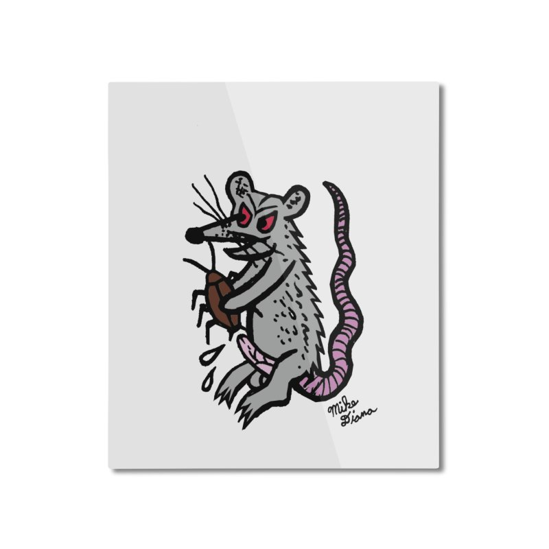 Ratty Home Mounted Aluminum Print by Mike Diana T-Shirts! Horrible Ugly Heads Limited E
