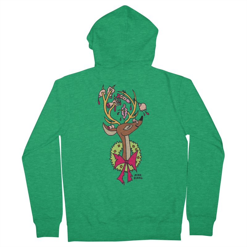 Mike Diana Christmas Trophy Women's Zip-Up Hoody by Mike Diana T-Shirts! Horrible Ugly Heads Limited E