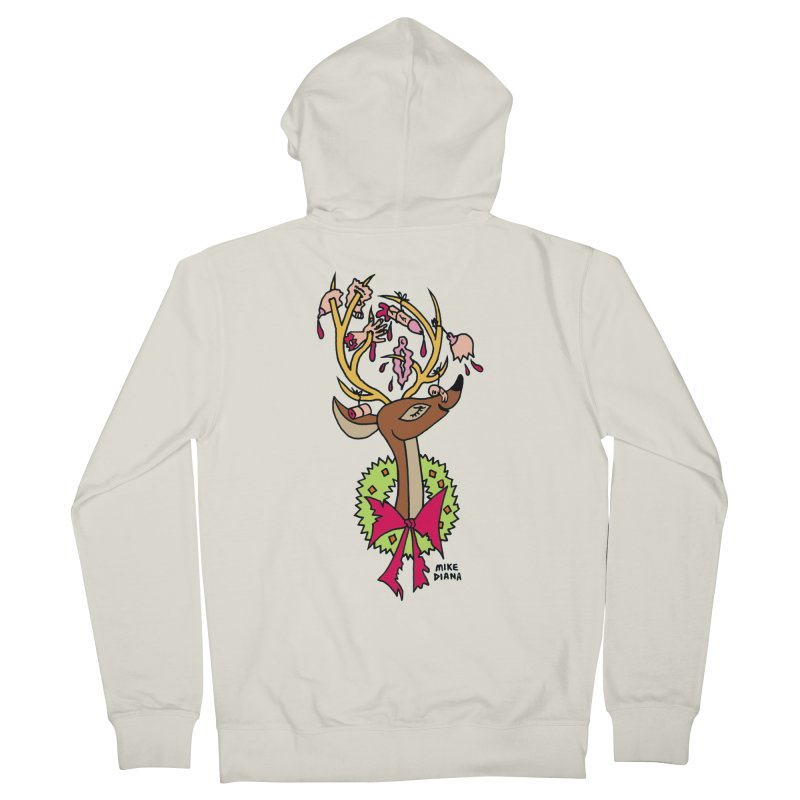 Mike Diana Christmas Trophy Women's French Terry Zip-Up Hoody by Mike Diana T-Shirts! Horrible Ugly Heads Limited E