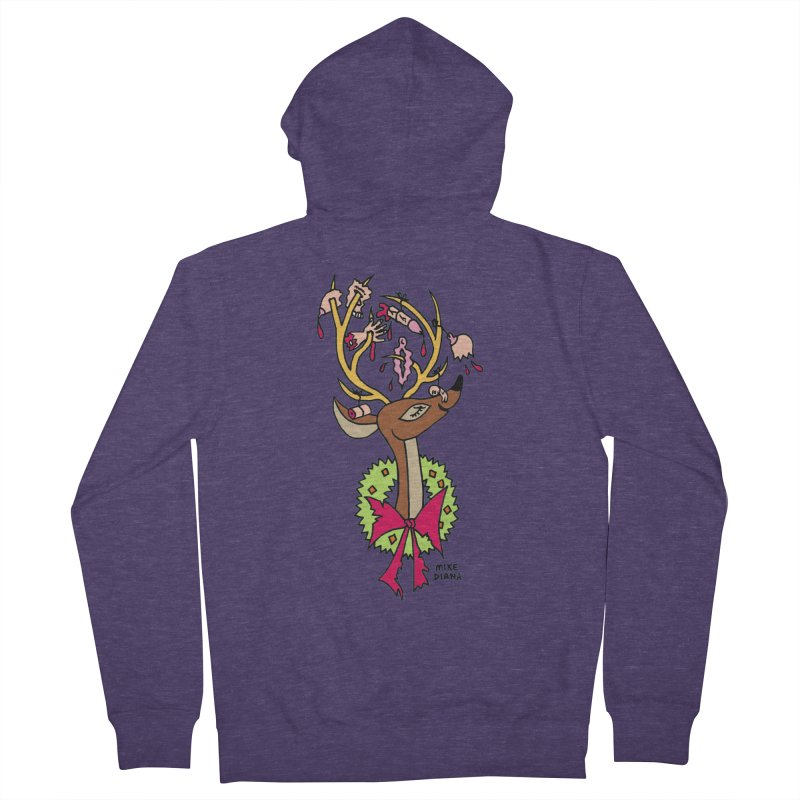 Mike Diana Christmas Trophy Men's French Terry Zip-Up Hoody by Mike Diana T-Shirts! Horrible Ugly Heads Limited E