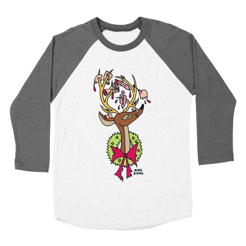 Mike Diana Christmas Trophy Women's Baseball Triblend Longsleeve T-Shirt by Mike Diana T-Shirts! Horrible Ugly Heads Limited E