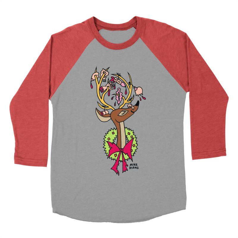 Mike Diana Christmas Trophy Women's Baseball Triblend T-Shirt by Mike Diana T-Shirts! Horrible Ugly Heads Limited E