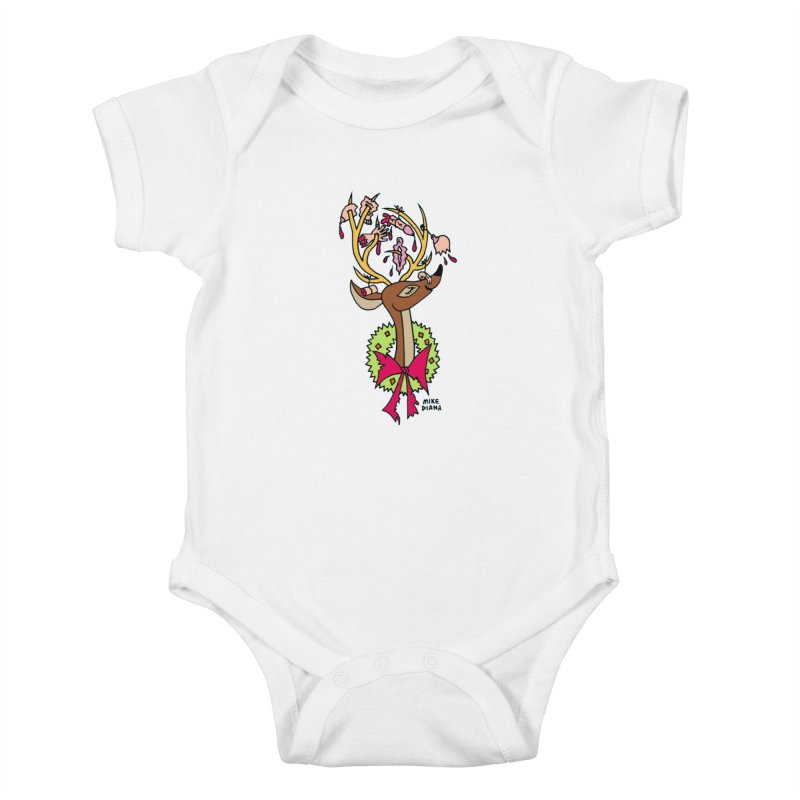 Mike Diana Christmas Trophy Kids Baby Bodysuit by Mike Diana T-Shirts! Horrible Ugly Heads Limited E